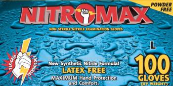 Nitromax Powder Free Nitrile Exam Gloves- Emerald- Blue